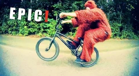 EPIC! WIN: Longest Manual BMX – (in a bear costume) incl. Crash / Fail Footage