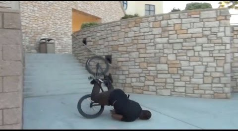 BMX – 10 Stair Barspin To The Face.