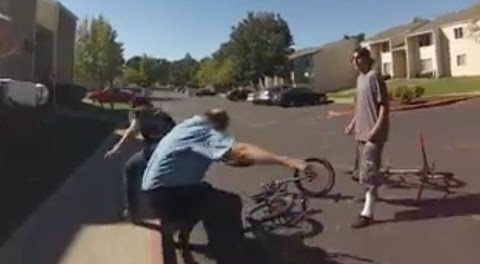 Security Guard Attacks BMX Riders Then Gets Knocked On His Ass