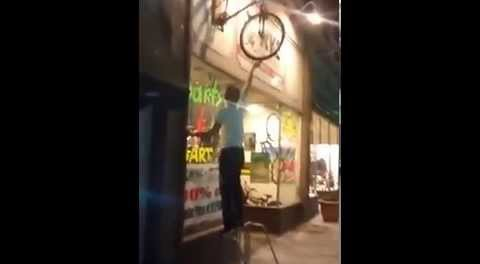LOL. Guy Tries Climb Onto Bicycle, Gets Knocked Out