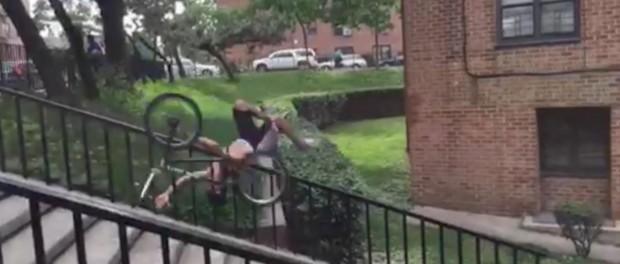 Ridiculous BMX Handrail Crash