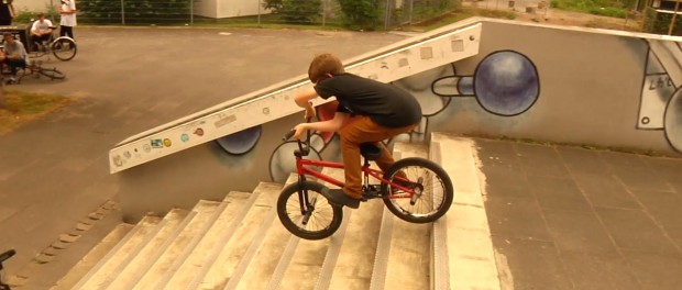 13 Year Old BMX Rider does crazy long X up stair ride / Orkan Kilincel
