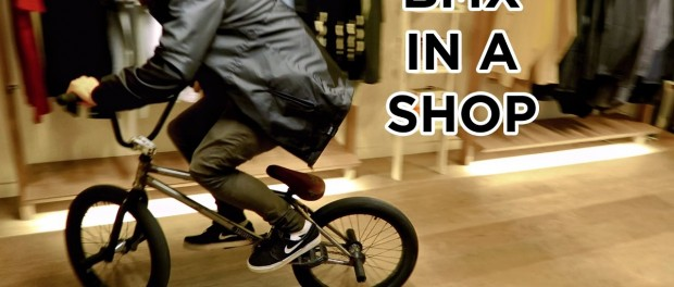 Riding BMX in a clothes store