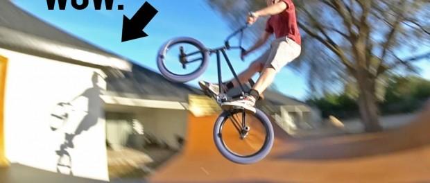 BMX JUMP ATTEMPT ONTO MY BMX ROOF WITH HIS BMX BIKE