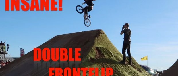 AMAZING NO HANDED DOUBLE FRONTFLIP ATTEMPT!