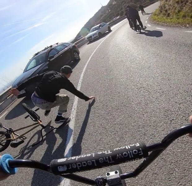 Insane BMX Hill Bomb Car Crash! (Barcelona)