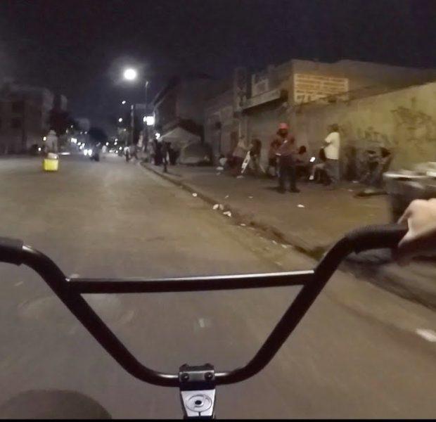 BMX THROUGH SKID ROW AT NIGHT