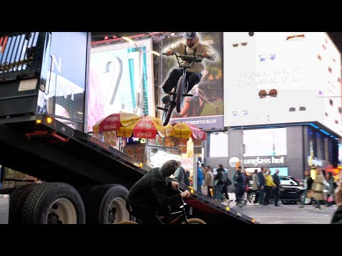 Riding BMX on Trucks in Times Square! (NYC)