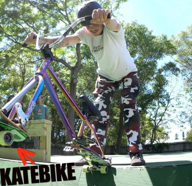 SkateBike On Big Boy's Backyard Ramp!