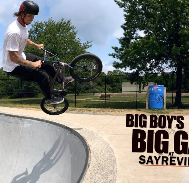 Big Boy Goes For Big Gap At The Skatepark!