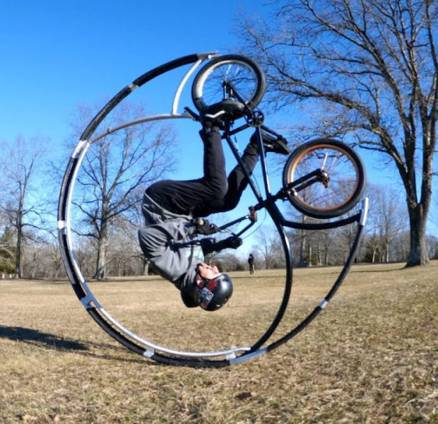 Roller Coaster Bike Rolls Down A Hill As Many Times As Possible!